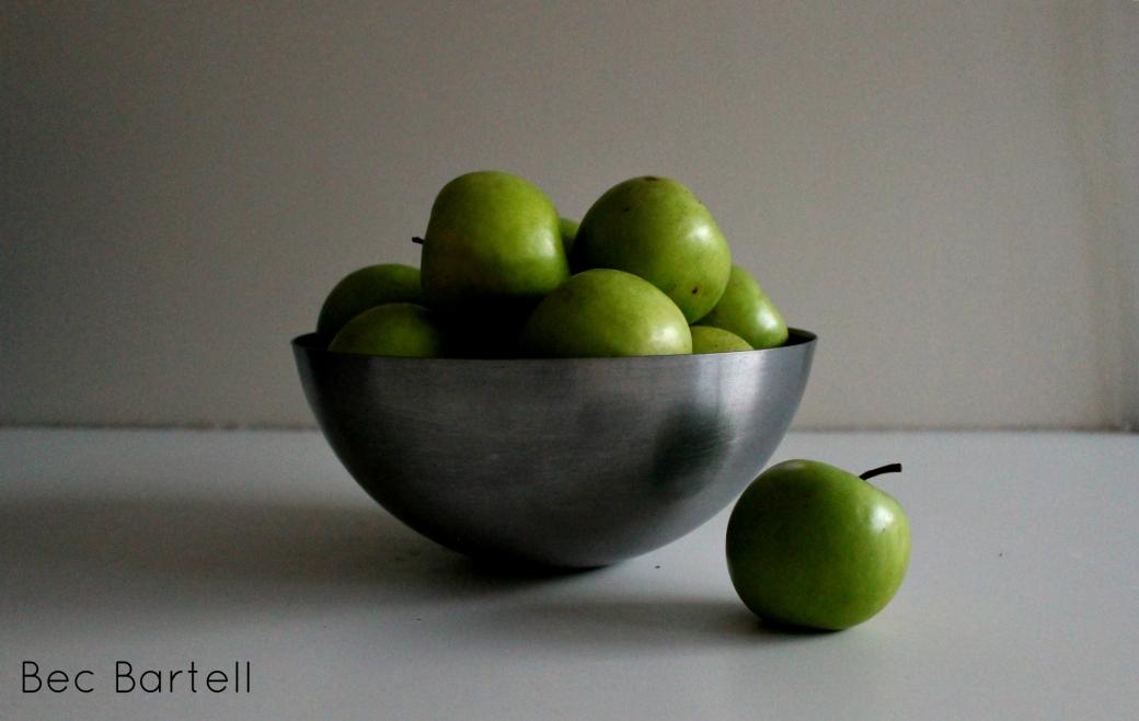still-life-green-apples-in-silver-bowl