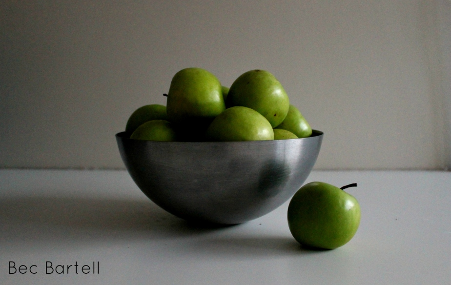 still-life-green-apples-in-silver-bowl